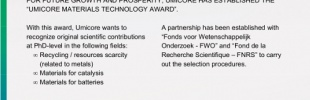 Umicore Materials Technology Award 2017 (10.000 EURO)
